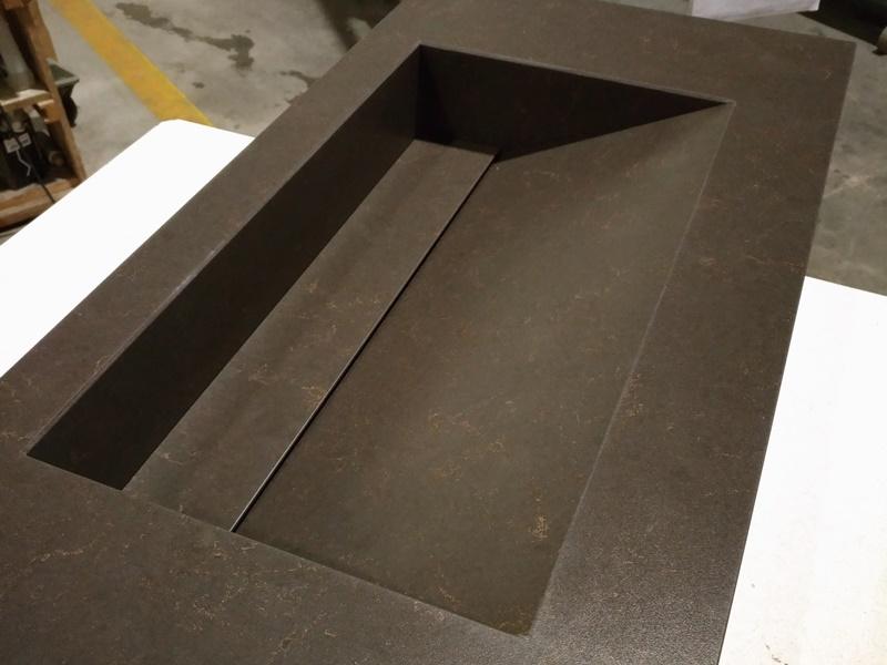 top bagno in agglomerato di quarzo vasca integrata