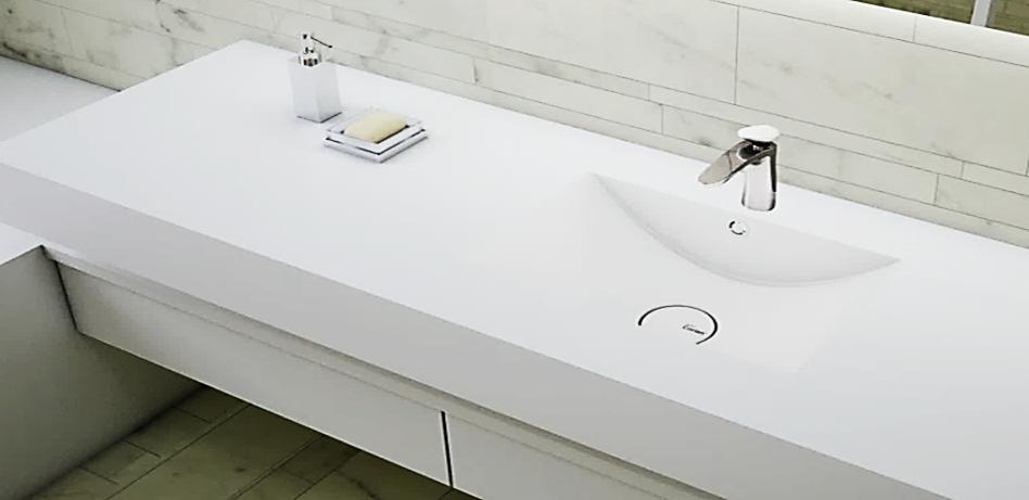 top bagno in corian con vasca integrata