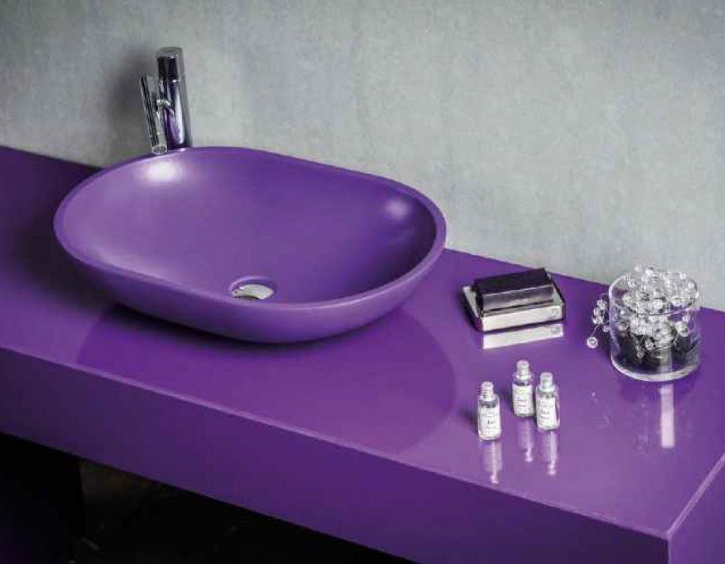 top bagno con vasca agglomerato di quarzo stone italiana u-design