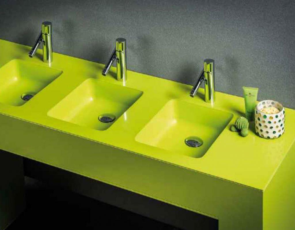 top bagno con vasche agglomerato di quarzo stone italiana u-design